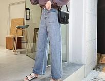 休闲大口袋牛仔直筒裤